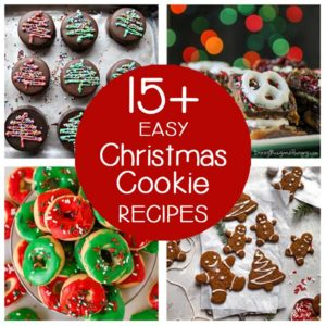 square collage of 4 easy christmas cookie recipes