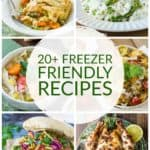 collage of 5 freezer friendly recipes like burgers or chicken or soup, etc