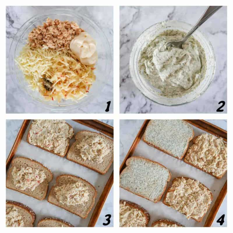 Four panel grid of process shots- mixing ingredients together and putting them on bread on a baking sheet.