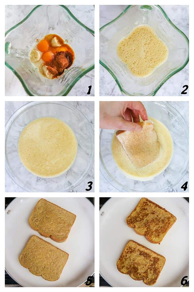 Six panel grid of process shots-combining ingredients, covering bread, and cooking.