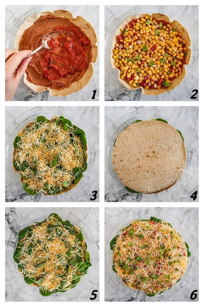 Six panel grid of process shots- layering all ingredients in pan.