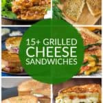 collage of grilled cheese sandwiches like chili grilled cheese, roasted red pepper grilled cheese, etc