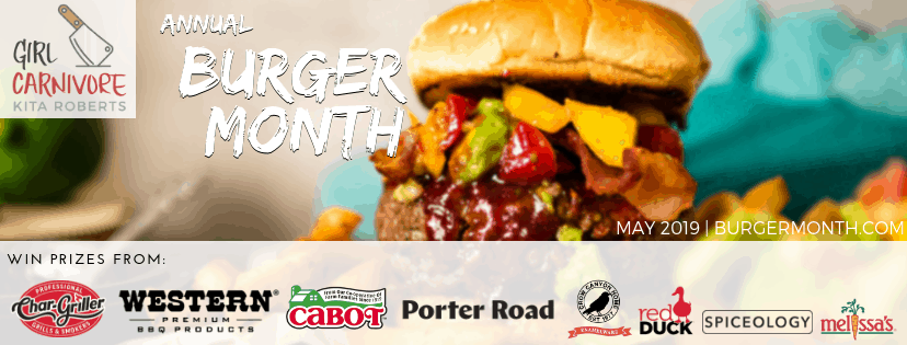 burger month header with burger photo and sponsor names