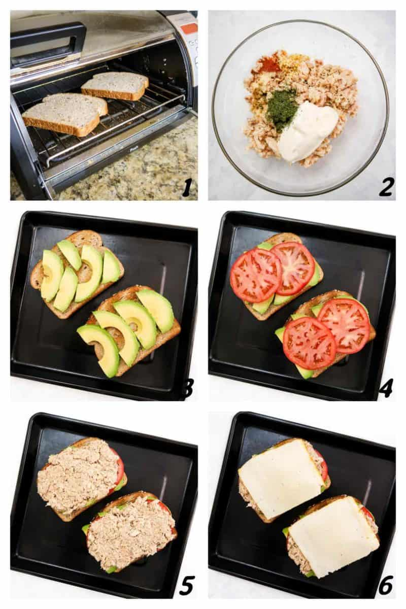 A six panel grid of process shots- toasting bread, mixing ingredients, and putting sandwich together.