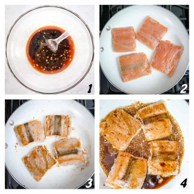 Four panel grid of process shots- mixing sauce and cooking salmon in skillet.