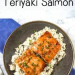 Overhead shot of teriyaki glazed salmon on rice topped with chives on a brown plate with a blue background.
