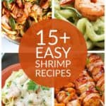 Collage of 4 delicious yet simple shrimp dinners