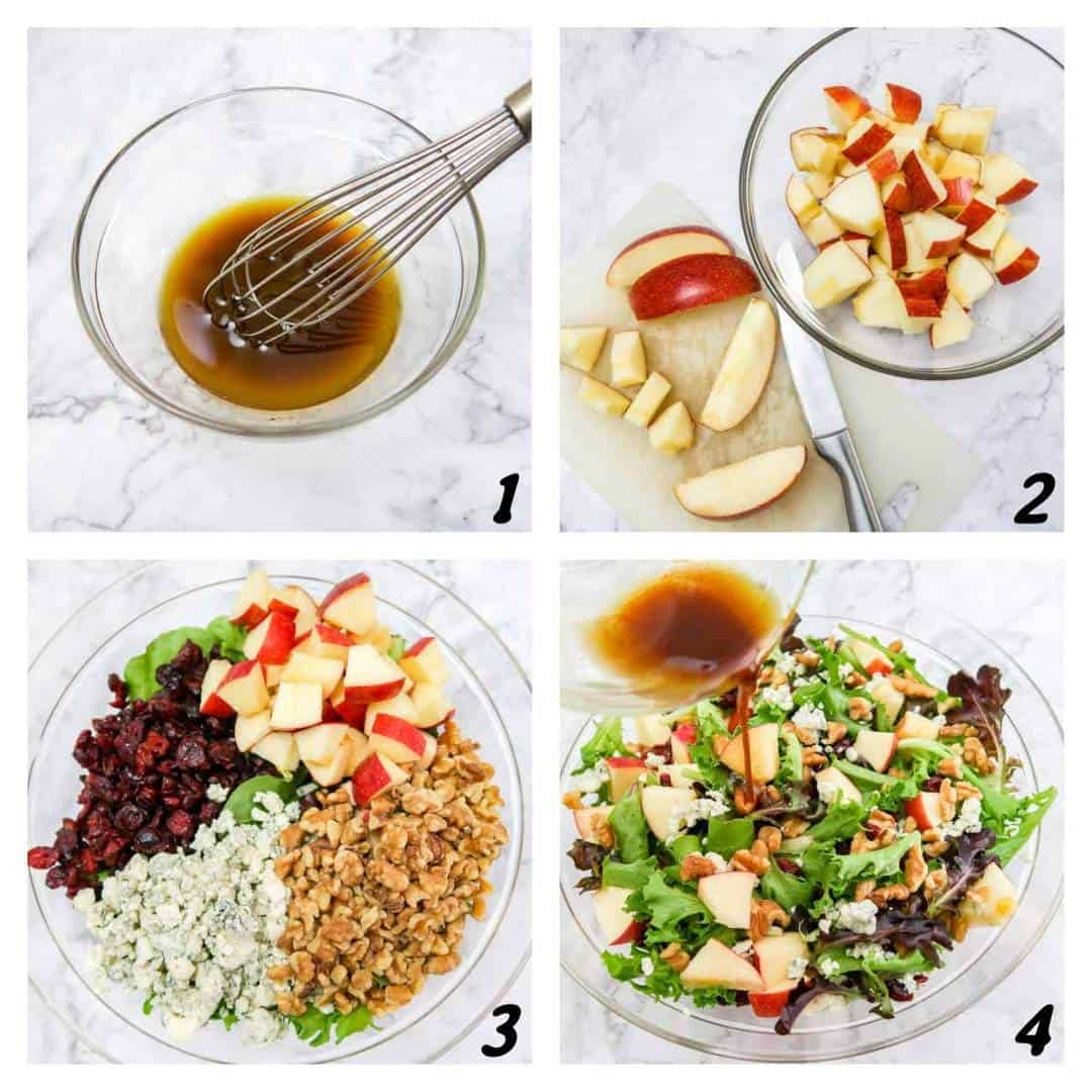 Four panel grid of process shots- chopping and combining ingredients and adding dressing mix.