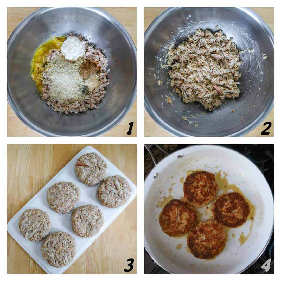 Four panel grid of process shots- combining ingredients, forming crab cakes, and frying them in a pan.