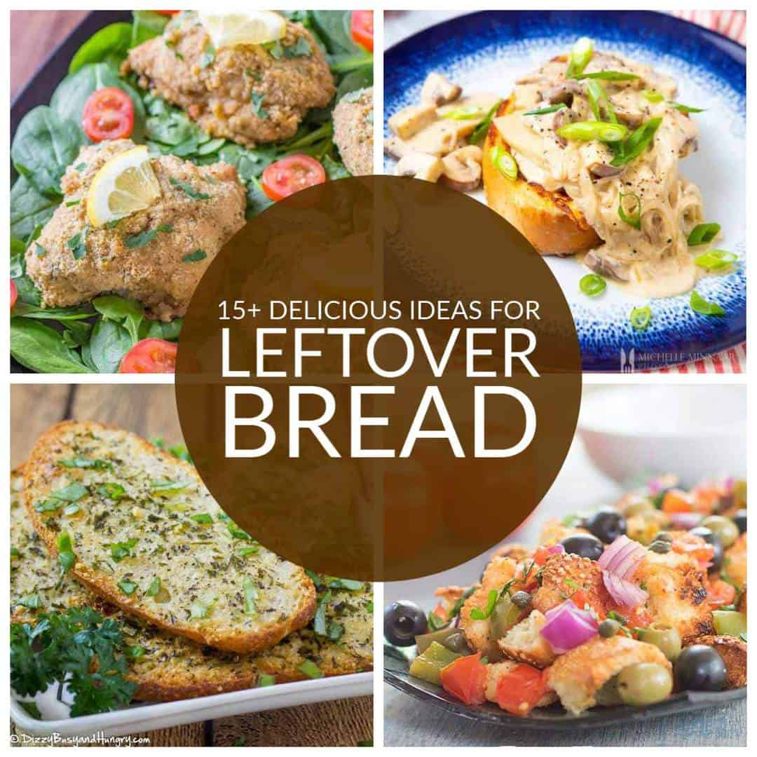 square collage of 4 recipes you can make with leftover bread