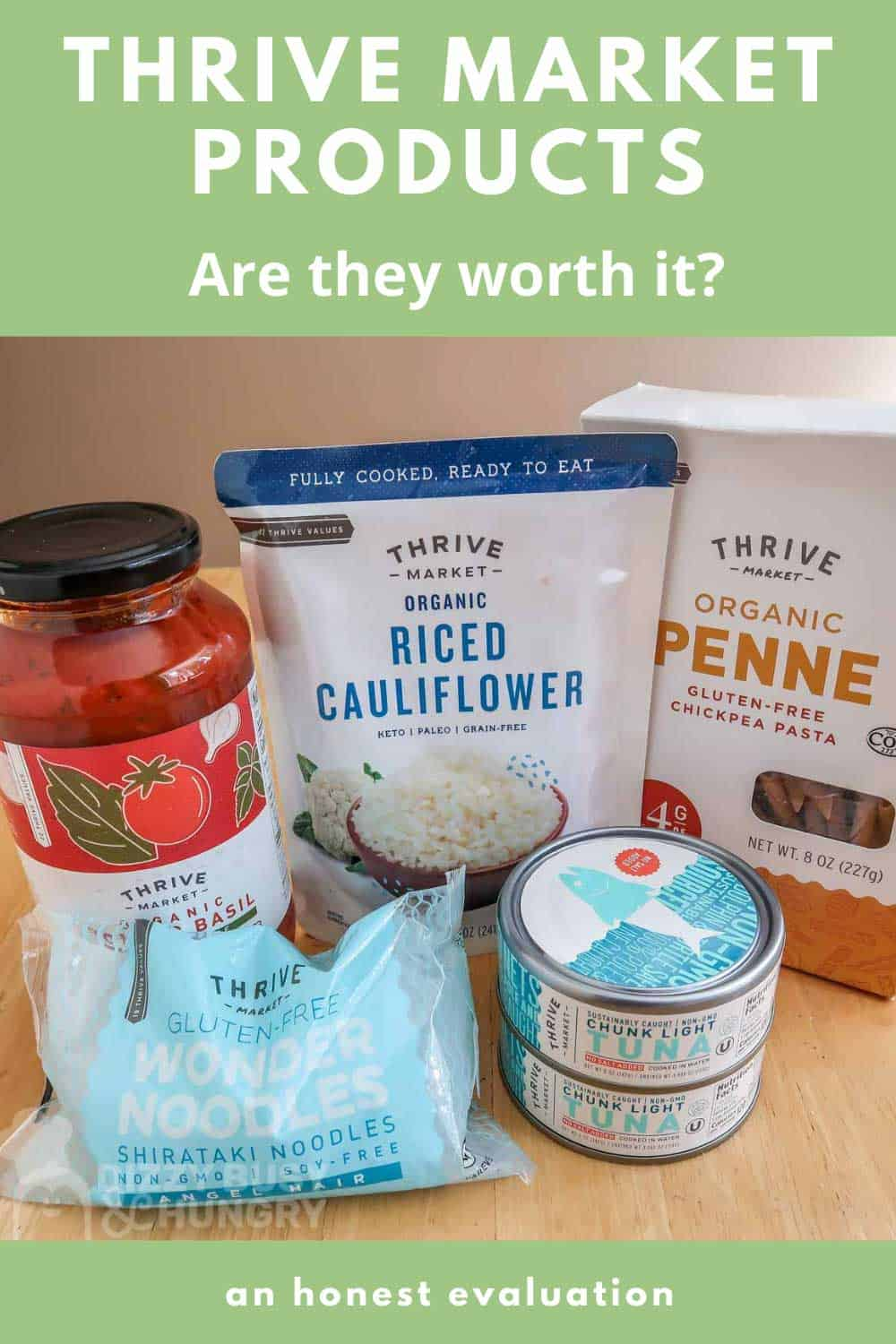 Photo of some thrive market pantry staples-pasta sauce, tuna, gluten-free pasta, riced cauliflower