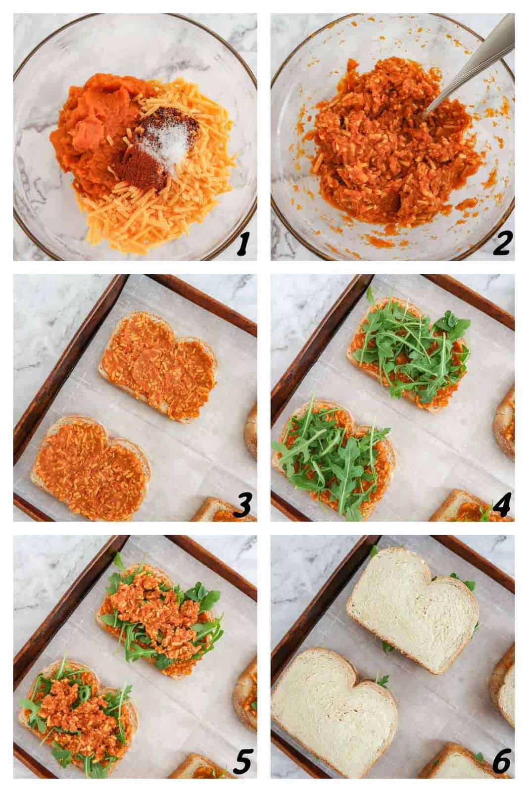 Collage of the process steps to make cheddar pumpkin grilled cheese sandwiches.