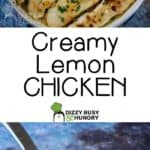 Side view of creamy lemon chicken in a skillet garnished with lemon slices and herbs with a spoon.