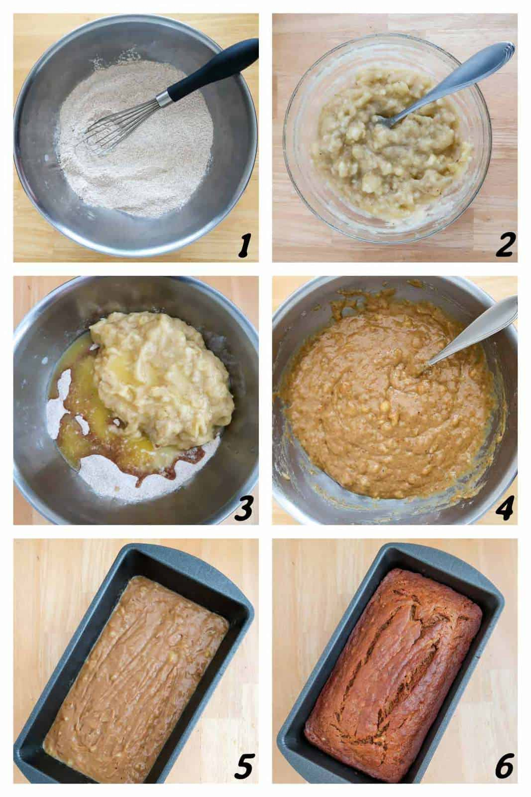 Six panel grid of process shots- mixing together ingredients, pouring into pan and baking.