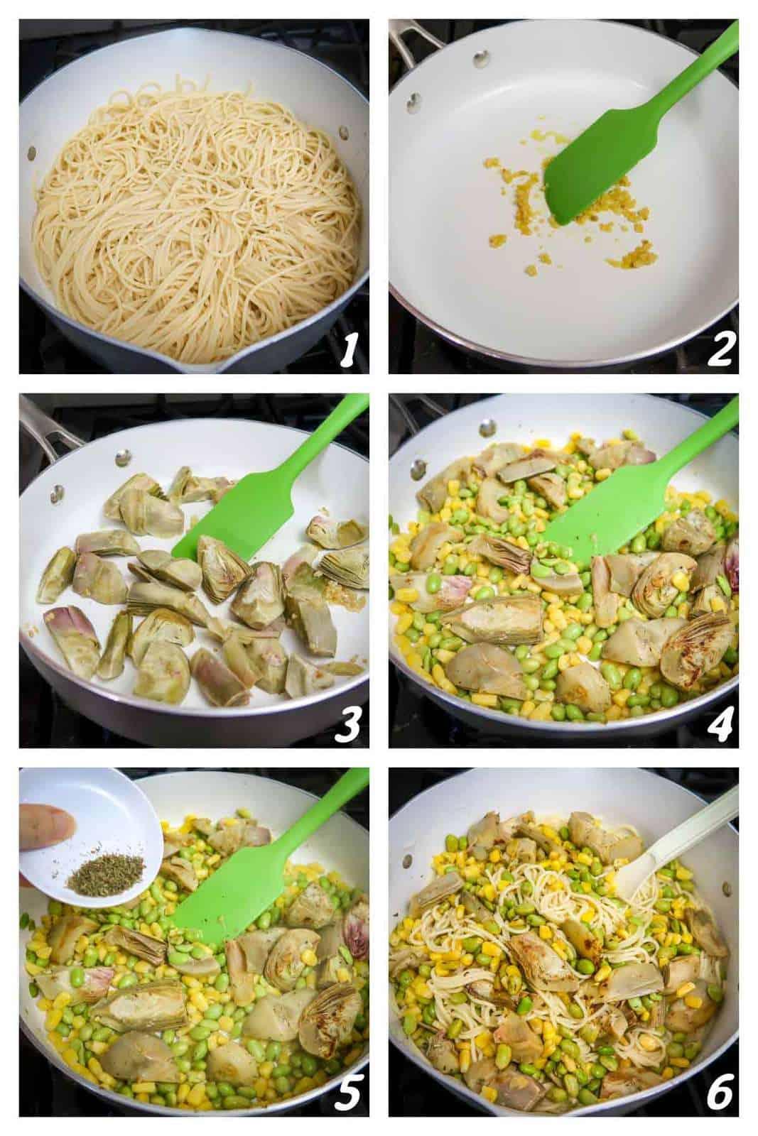 6 photos demonstrating the process of making Lemon Artichoke Pasta.