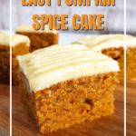 side view of slices of pumpkin spice cake topped with cream cheese frosting
