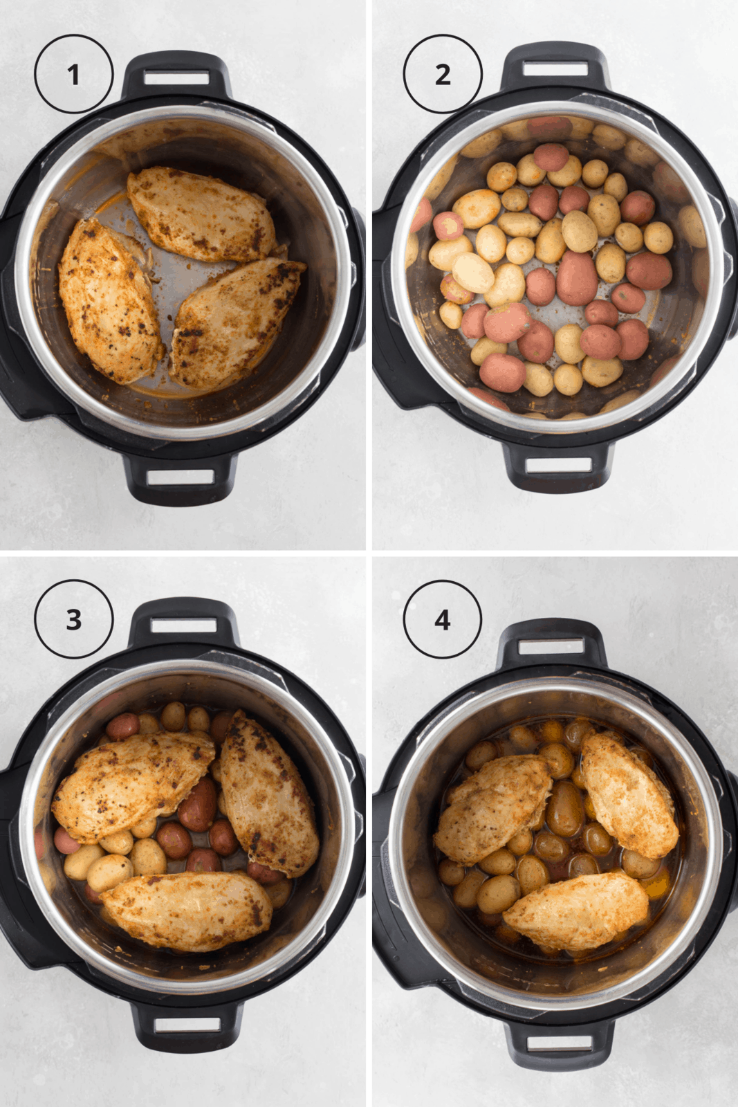 step by step instructions for how to make instant pot chicken and potatoes.