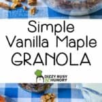 Two photos separated by text overlay to show the granola breakfast.