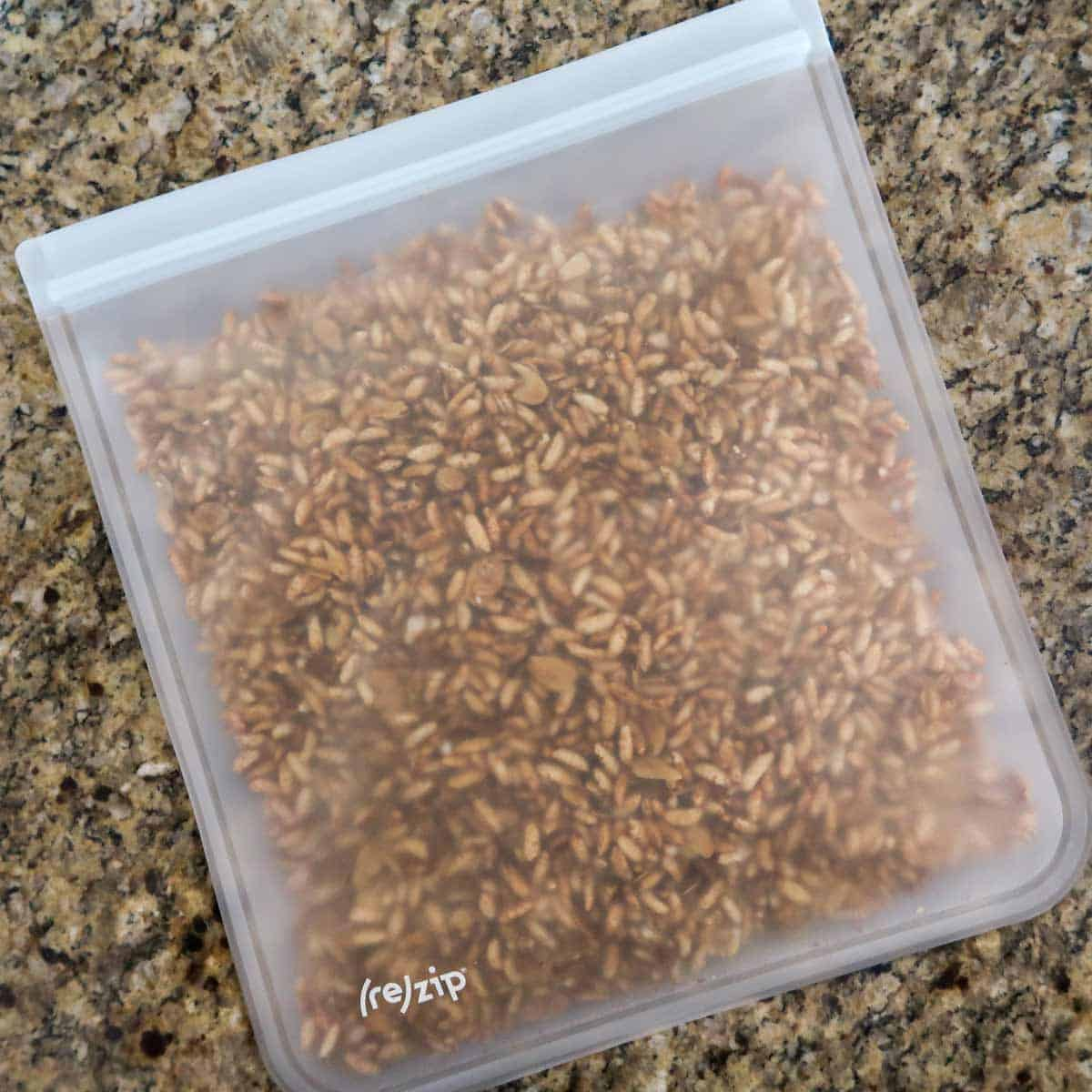 Overhead photo of granola stored in a reusable zip top bag.