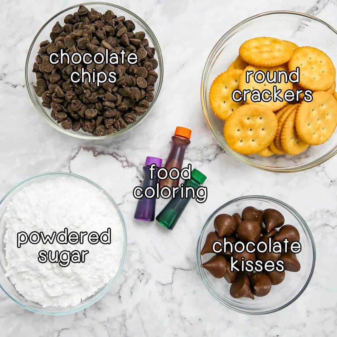 Overhead view of the 5 ingredients needed to make these Halloween treats.