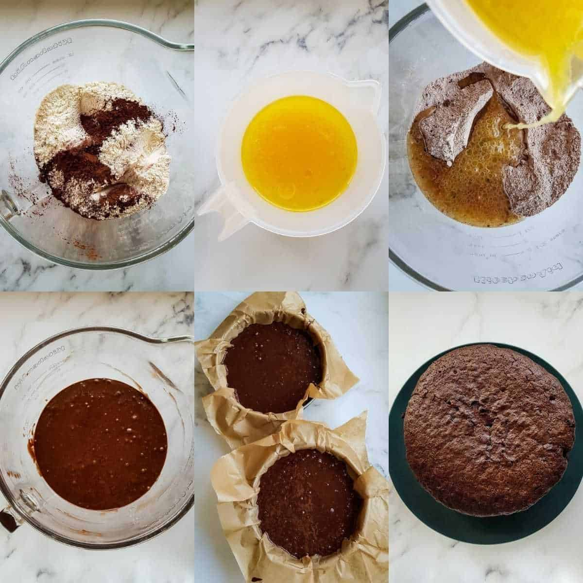 Step by step images showing how to make the chocolate orange cake.