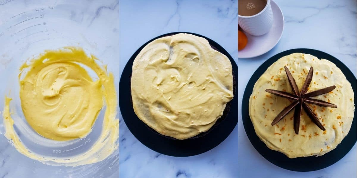 Step by step images showing how to make orange buttercream frosting.