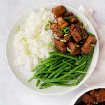 Overhead photo of braised pork and green beans with rice on a while plate.