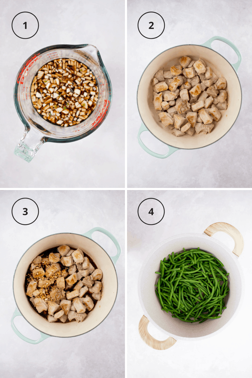 Process shot for making pork and green beans.