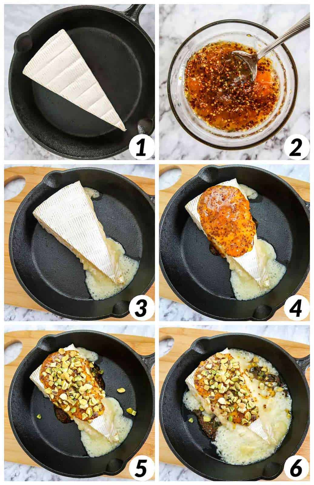 Six panel collage of process shots- combining ingredients and melting them together in a pan.
