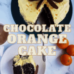 a picture of a cake with orange buttercream, decorated with chocolate orange slices, one slice cut out and on a separate plate, and a text decoration that says