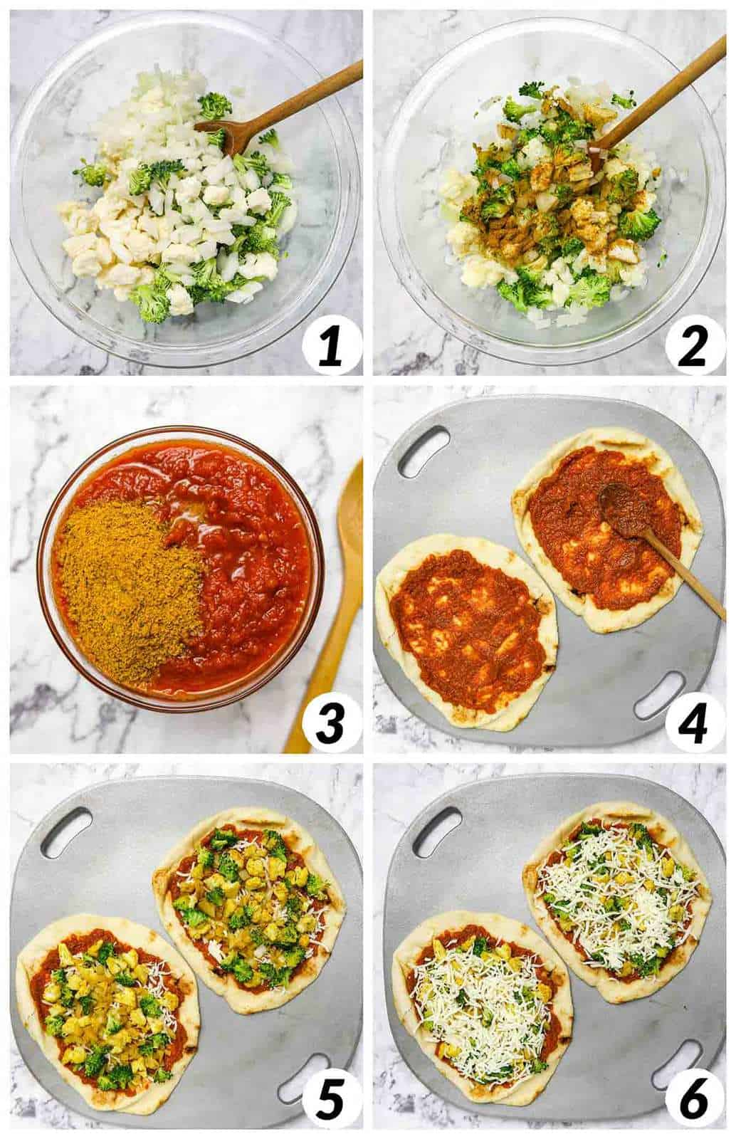 Six panel grid of process shots- mixing together ingredients, forming pizzas, and cooking the pizzas.