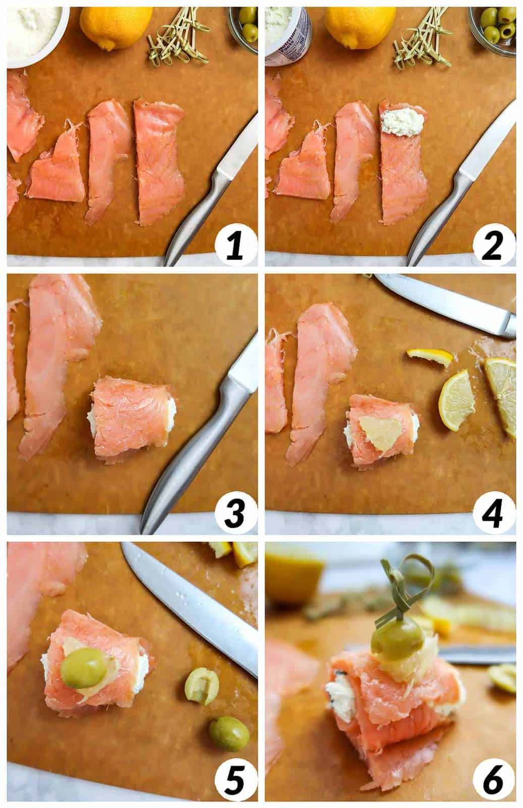 Six panel collage of process shots- cutting salmon, rolling with cream cheese, and placing lemon and olive on them with an appetizer pick.