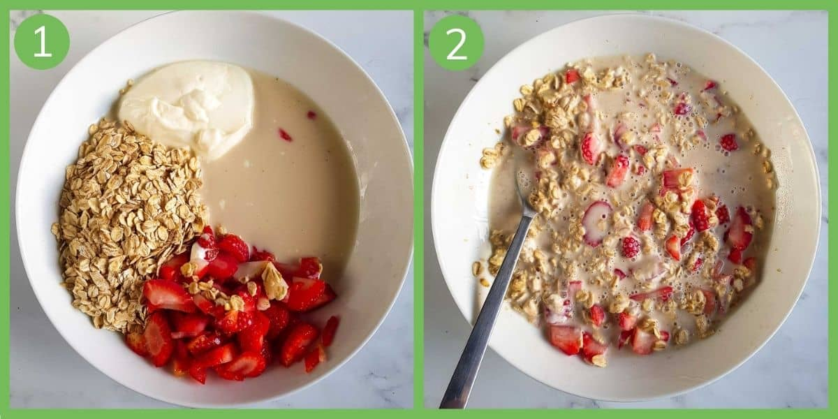 Step by step instructions showing how to make strawberry overnight oats.
