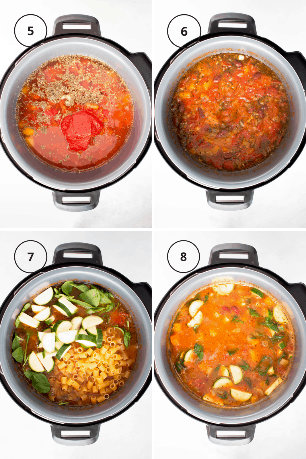 Step by step instructions for making minestrone in the Instant Pot.