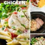 Four panel collage of process and finished shots of creamy crockpot chicken.