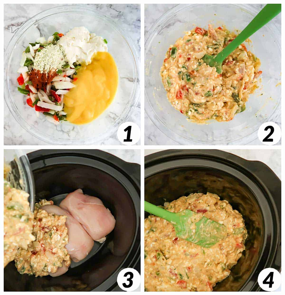 Four panel collage of process shots- mixing together ingredients and adding ingredients into the crock pot to cook.