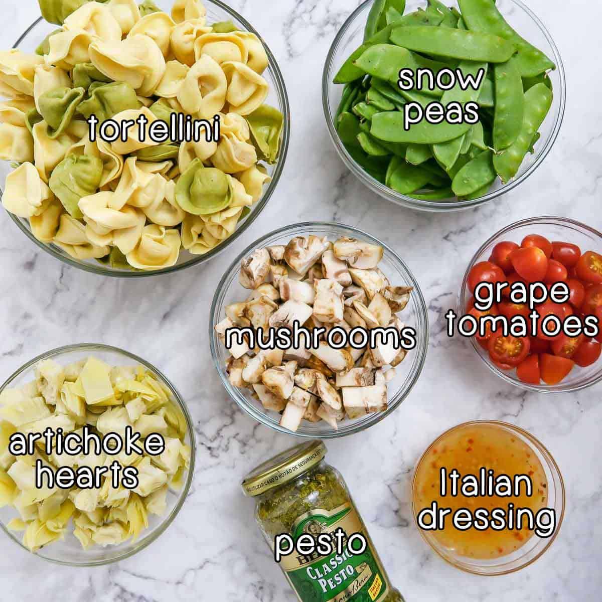 Overhead shot of ingredients- tortellini, snow peas, mushrooms, grape tomatoes, artichoke hearts, pesto, and Italian dressing.