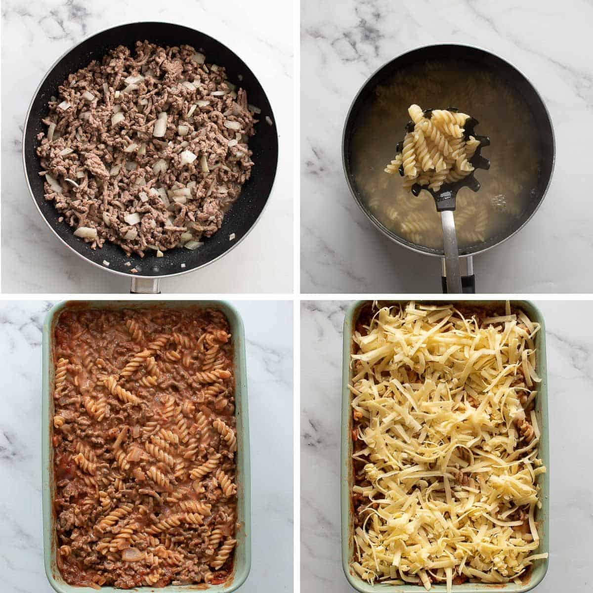 Step by step images showing how to make hamburger casserole.