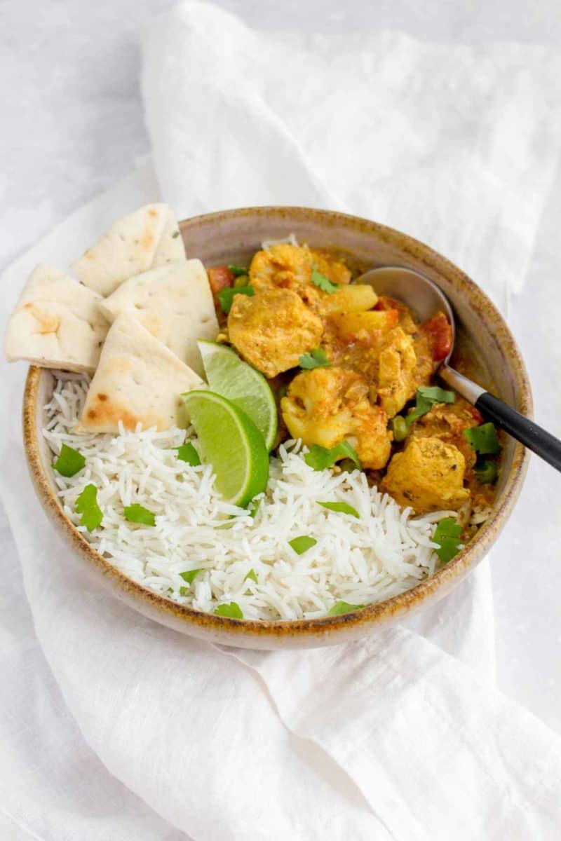 A bowl of Instant Pot Chicken Curry.