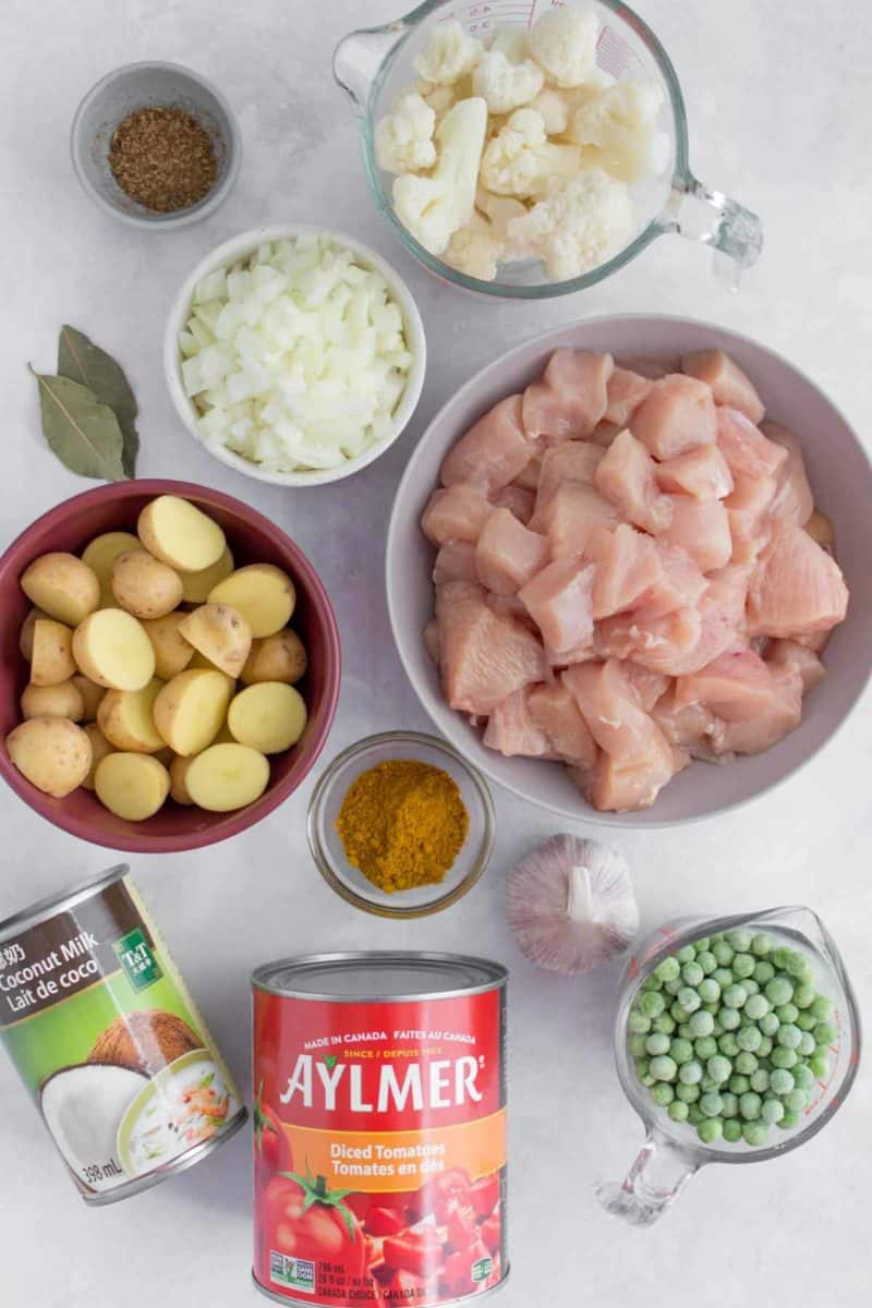 Overhead image of ingredients needed to make a chicken curry.