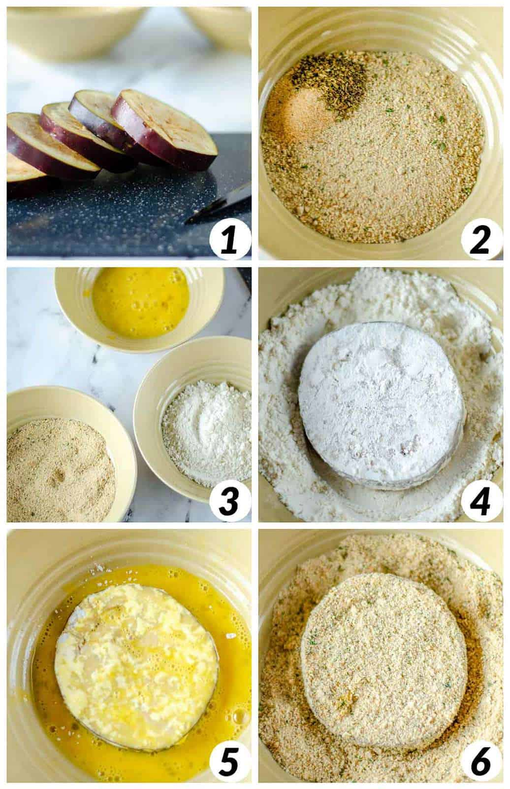 A 6 photo collage that show each step of prepping the eggplant by cutting it into rounds and then coating it in breadcrumbs.