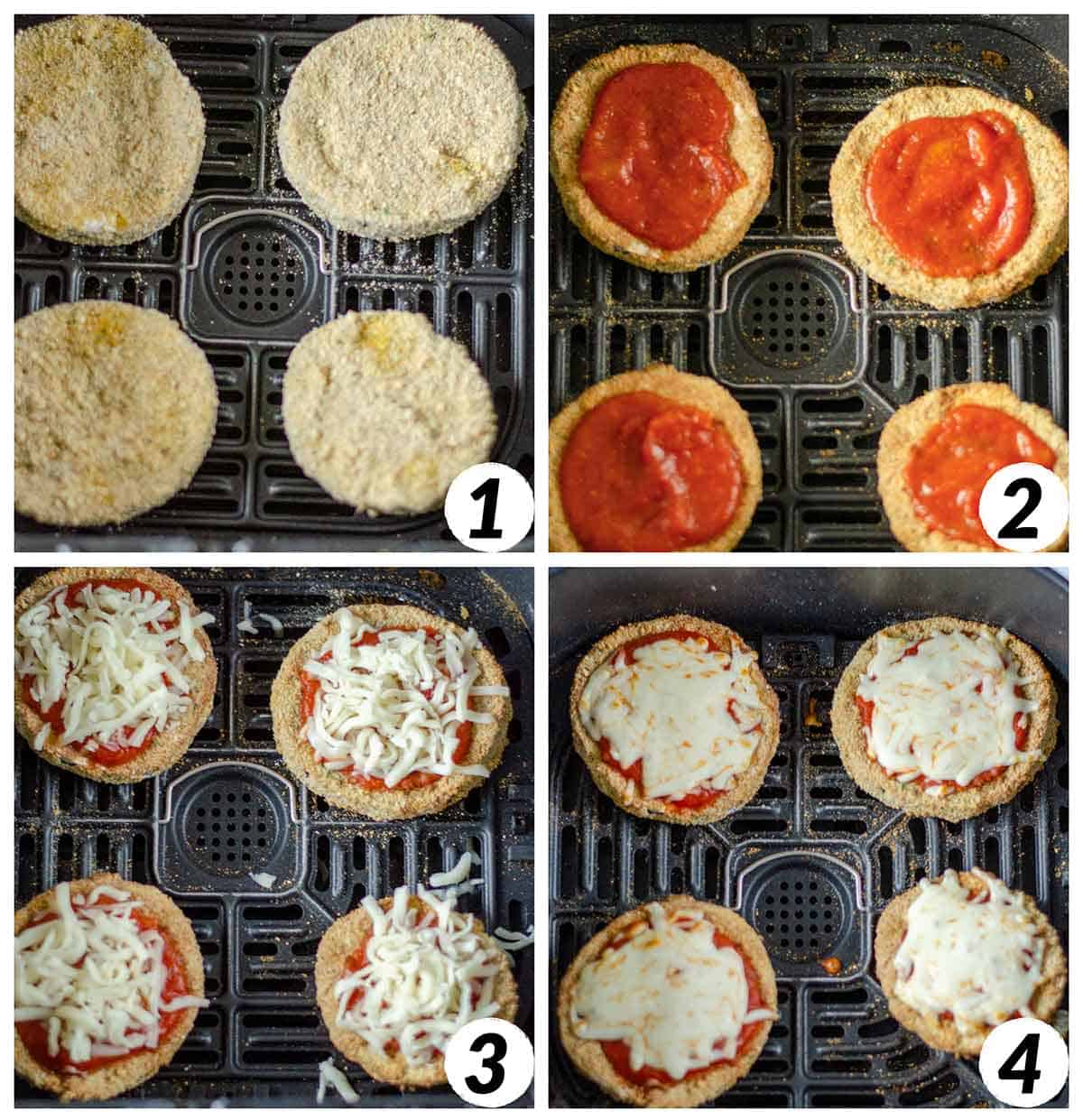 Collage of 4 photos showing how to top your air fried eggplant rounds with sauce and cheese.
