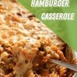 Overhead shot of hamburger casserole in baking dish.