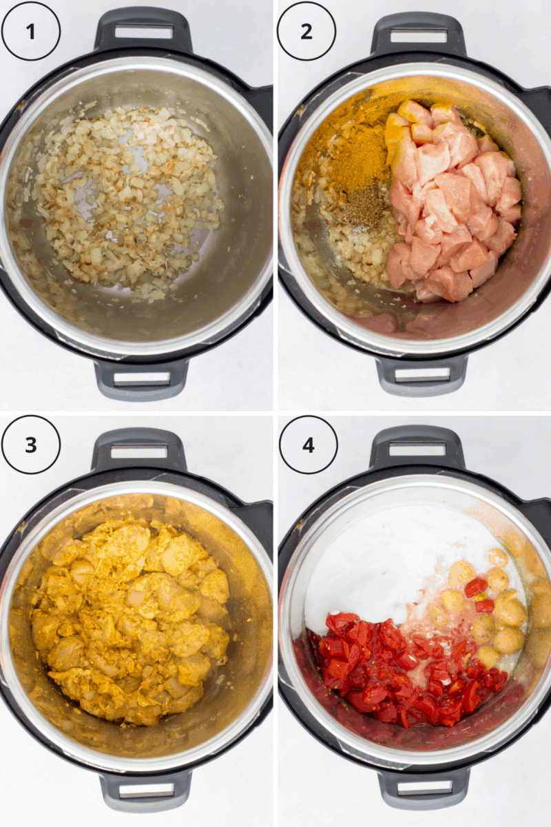 A set of four instructional photos showing how to use the pressure cooker to make a chicken curry.