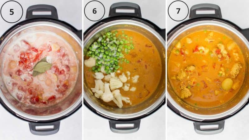 Set of three instructional photos showing how to use the pressure cooker to make curry.