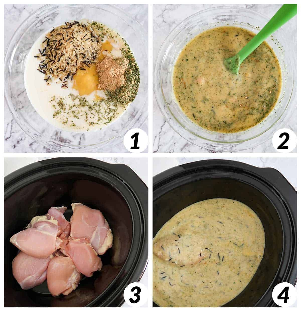 Four panel collage of process shots- mixing together ingredients and combining them in the slow cooker.