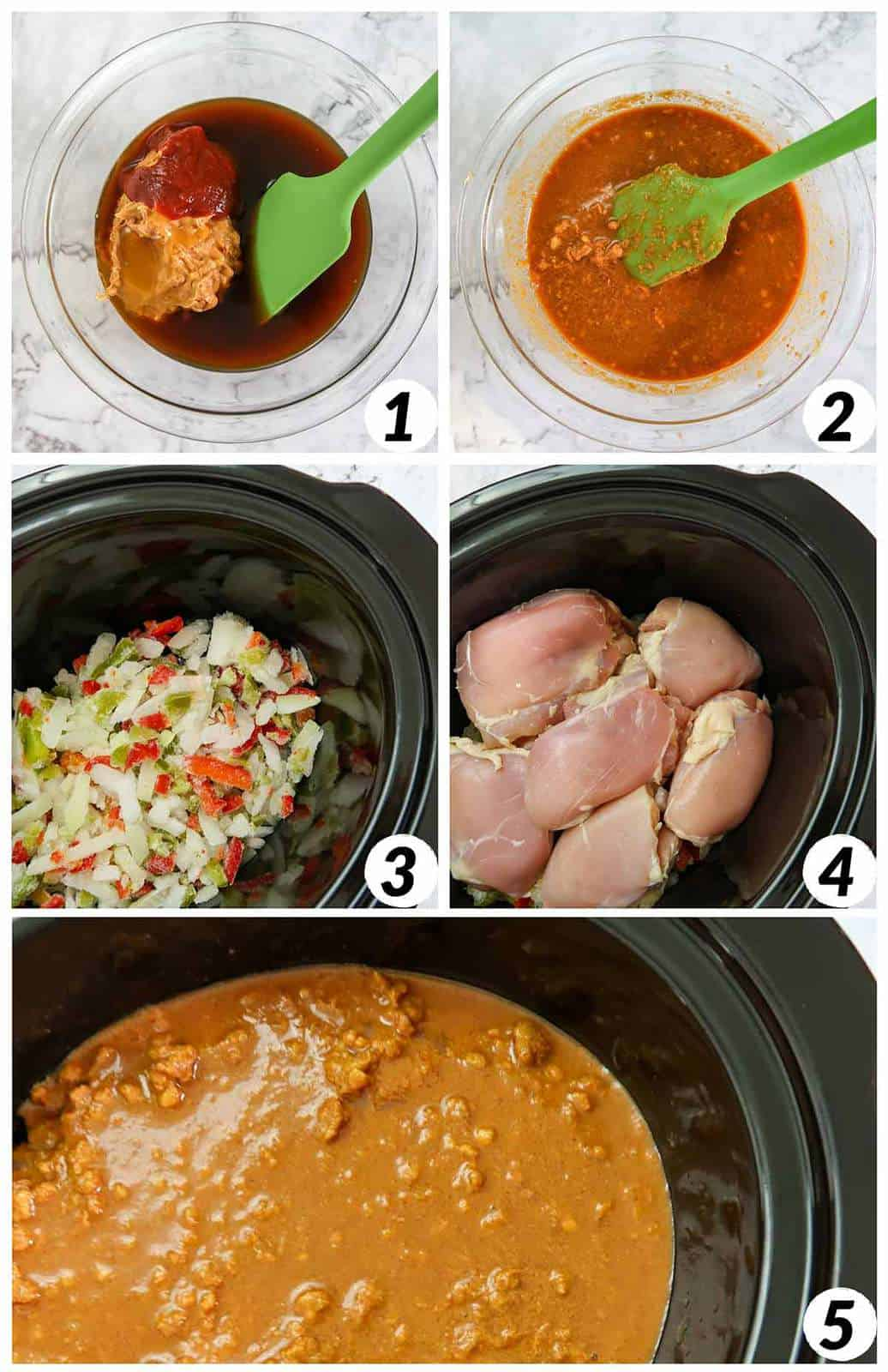 Five panel collage of process shots- mixing together ingredients to form sauce, placing chicken, veggies, and sauce in the crockpot, and cooking.