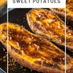 Close up view of an air fryer sweet potato dripping with butter and cinnamon sugar.