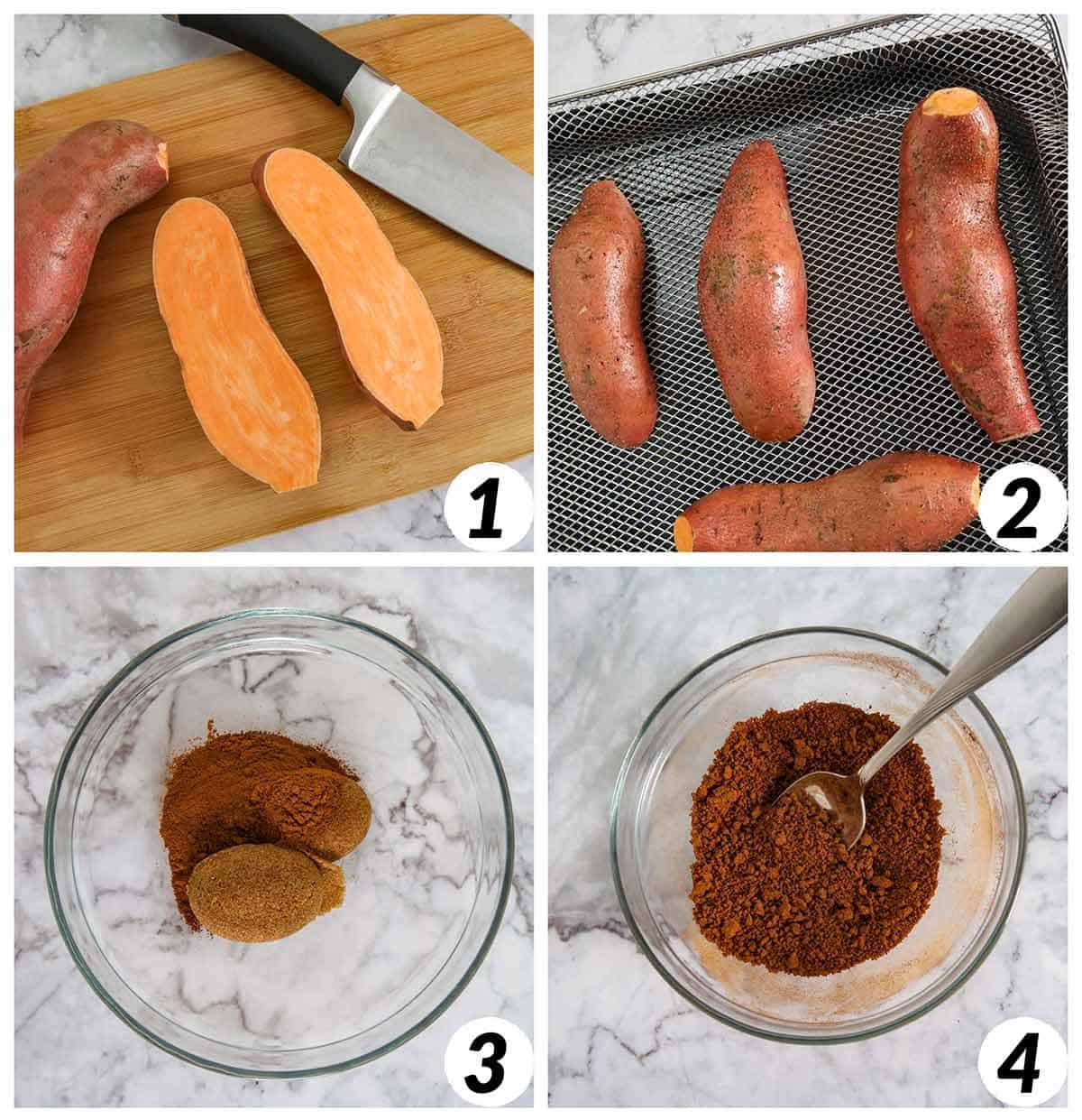 Collage of 4 process steps to make this recipe for air fried sweet potatoes.