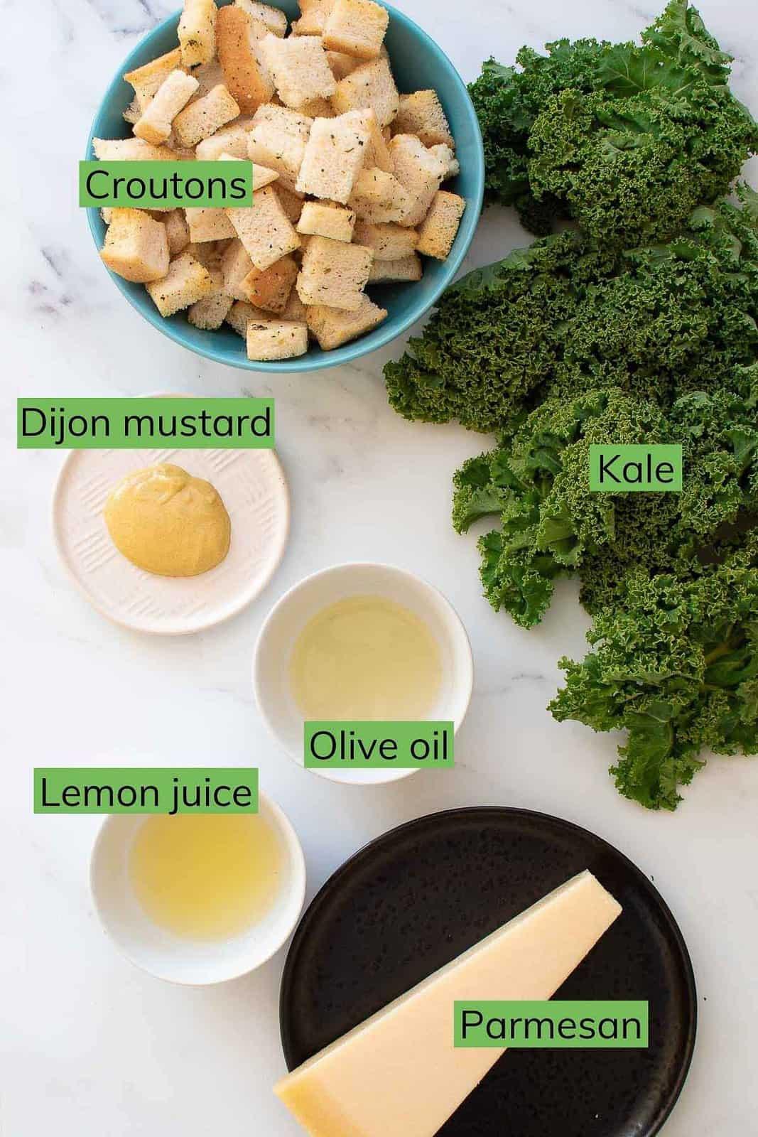 Ingredients needed to make vegetarian kale Caesar salad.